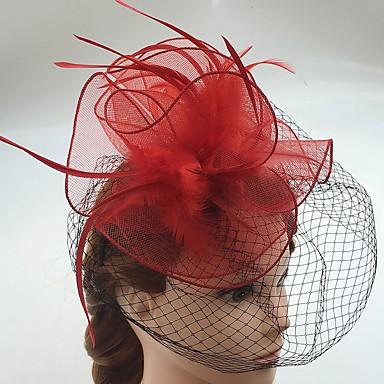 Pena / Rede Fascinadores / Decoração de Cabelo / Véus de Birdcage com Floral 1pç Casamento / Ocasião Especial / Casual Capacete