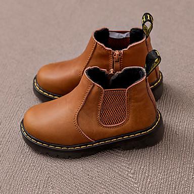 Jente sko Lær Vinter Høst Kampstøvler Støvler til Avslappet utendørs Svart Kakifarget