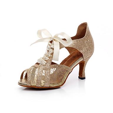 baratos Shall We® Sapatos de Dança-Mulheres Courino Sapatos de Dança Latina Gliter com Brilho Sandália Salto Agulha Personalizável Dourado / Preto / Prata / Interior / Couro / Ensaio / Prática / Profissional / EU38