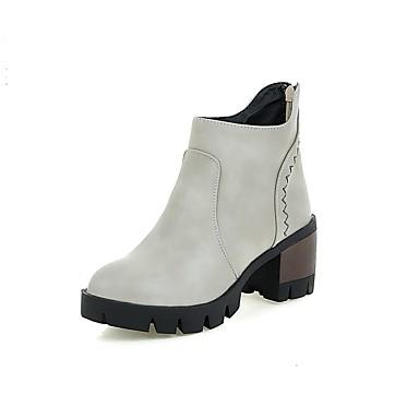 Dame-PU-Tykk hæl-Komfort-Støvler-Kontor og arbeid Sport Fritid-Svart Beige Grå Mørkebrun