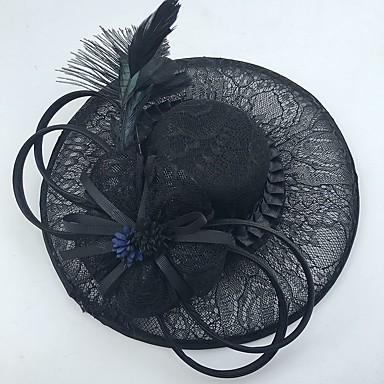 レースフェザーネットの魅力帽子のヘッドピースクラシックな女性のスタイル