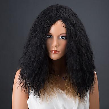 Synteettiset hiukset Peruukit Afro Kihara Luonnollinen peruukki Black / Mansikka Blonde