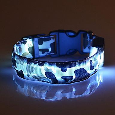 Katze Hund Halsbänder LED-Lampen Regolabile / Einziehbar camuflaje Nylon Gelb Rot Grün Blau Rosa