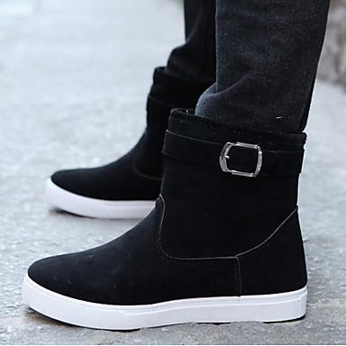 Herre-Bomull-Flat hæl-Komfort-Støvler-Fritid-Svart Grå Navyblå Grønn