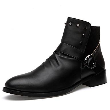 Bootsit-Tasapohja-Miesten-PU-Musta Valkoinen-Rento-Comfort