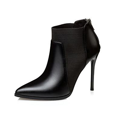 Dame-Kunstlær-Stiletthæl-Komfort-Støvler-Formell-Svart