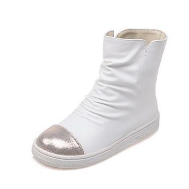 Dame-PU-Lav hæl-Komfort-Støvler-Kontor og arbeid Formell Fritid-Rød Hvit