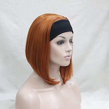 人工毛ウィッグ ストレート 密度 ハーフキャップレス 女性用 レッド ナチュラルウィッグ 合成
