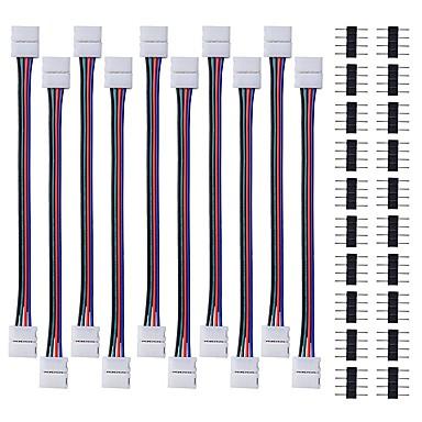 10pcs LED 5050 tira del rgb conector de la luz 4 conductor de 10 mm de ancho tira a tira puente con 20pcs conector macho de 4 pines para