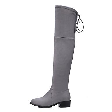 Dame-Fleece-Lav hæl-Annet-Støvler-Formell Fritid-Svart Grå