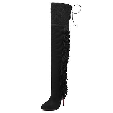 Naiset Bootsit Muotisaappaat Talvi Fleece Puku Piikkikorko Musta 4-4,75in