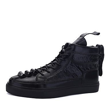 Miehet kengät Tekonahka Kevät Syksy Talvi Comfort Muotisaappaat Bootsit Käyttötarkoitus Urheilullinen Kausaliteetti Musta Ruskea Punainen