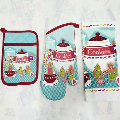 1pc Pocket Mitten, 1pc Oven Glove, 1pc Towel Tekstiili Leivontasetitfor Cake / Suklaa / for Leipä / for Cookie / for Cupcake / for Pie /