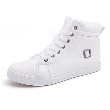 メンズ 靴 レザーレット 春 秋 冬 コンフォートシューズ ファッションブーツ ブーツ 用途 カジュアル ホワイト ブラック