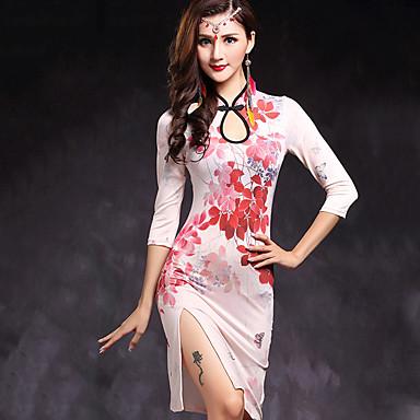 ベリーダンス ワンピース 女性用 演出 レーヨン 2個 3/4スリーブ ナチュラルウエスト ドレス ショートパンツ