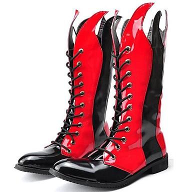 Hombre Fashion Boots Cuero Patentado Primavera / Otoño / Invierno Confort / Botas de Moto Botas Negro / Rojo / Fiesta y Noche