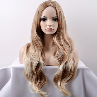 Pelucas sintéticas Ondulado Amplio Rubio Pelo sintético Rubio Peluca Mujer Larga / Muy largo Sin Tapa Marrón