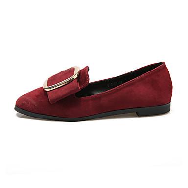 Dame-PU-Flat hæl-Komfort-一脚蹬鞋、懒人鞋-Fritid-Svart Rød