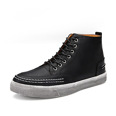 Miehet kengät PU Kevät Kesä Syksy Talvi Comfort Muotisaappaat Bootsit Käyttötarkoitus Kausaliteetti Musta Ruskea Khaki