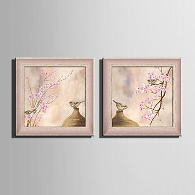 Kukkakuvio/Kasvitiede / Eläin Kehystetty kanvaasi / Kehystetty setti Wall Art,PVC materiaali Punainen Ei taustalevyä Frame For