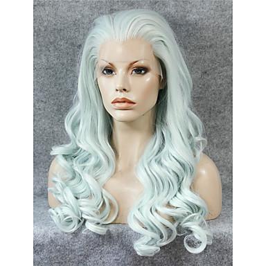 女性 人工毛ウィッグ フロントレース ウェーブ グリーン ナチュラルヘアライン コスプレ用ウィッグ コスチュームウィッグ