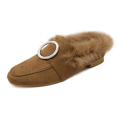 Dame Sko Fleece Vinter Flate sko Flat hæl Rund Tå Til Avslappet Svart Brun