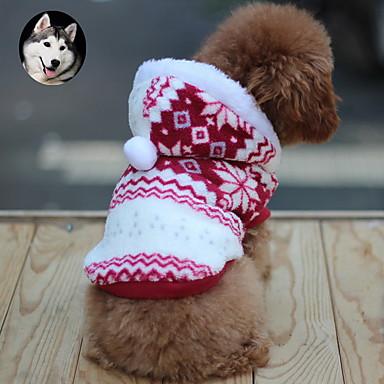 Pisici / Câine Haine / Hanorace cu Glugă Îmbrăcăminte Câini Fulg zăpadă Maro / Rosu / Albastru Bumbac Costume Pentru animale de companie Bărbați / Pentru femei Keep Warm / Modă