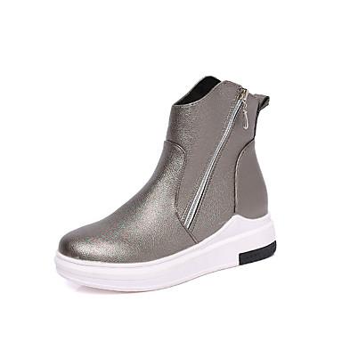 Dame Sko Kunstlær Vinter Høst Komfort Trendy støvler Støvler Lav hæl Rund Tå Glidelås til Avslappet Formell Svart Sølv