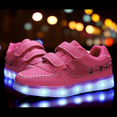 فتيات أحذية جلد ربيع مريح / بداية المشي / أحذية مضيئة أحذية رياضية ربطة و حلقة / LED إلى أبيض / أسود / زهري