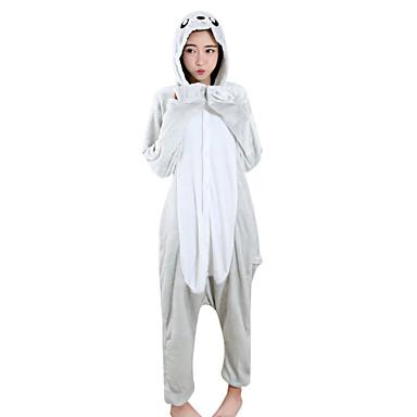 Adulto Pijamas Kigurumi Leão Leão marinho Pijamas Macacão Mink Velvet Prata Cosplay Para Homens e Mulheres Pijamas Animais desenho animado Festival / Celebração Fantasias
