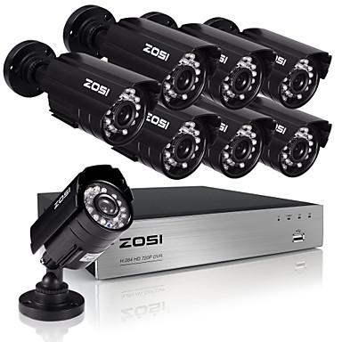 zosi®8ch ahd-l DVR ecloud HDMI 1080p / vga / bnc lähtö 8kpl 1.0mp päivä / yö valvontakamerat IP66