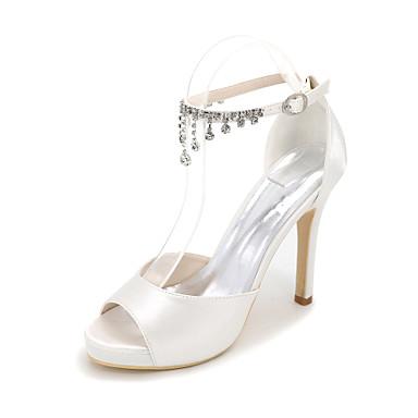 Femme Chaussures Soie Printemps / Eté / Automne Sandales Talon Aiguille Bout ouvert Strass Bleu / Champagne / Ivoire / Mariage