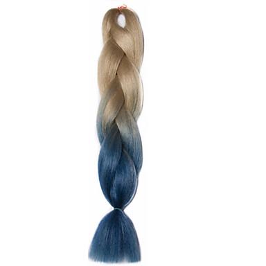 Jumbo Box Tranças Ombre Braiding Hair fibra sintética Azul Extensões de cabelo 24