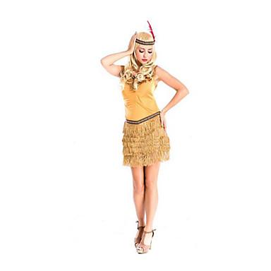イベント/ホリデー ハロウィーンコスチューム イエロー ゼブラプリント スカート / 帽子 ハロウィーン / クリスマス / カーニバル 女性用