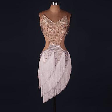 ラテンダンス ドレス 女性用 性能 スパンデックス タッセル / クリスタル / ラインストーン ノースリーブ ナチュラルウエスト ドレス