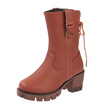 Dame-PU-Flat hæl-Komfort-Støvler-Fritid-Svart Brun