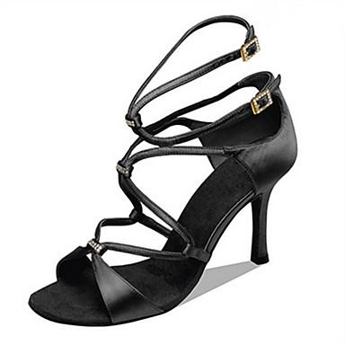 Mulheres Sapatos de Dança Latina / Sapatos de Jazz / Sapatos de Salsa Cetim Sandália / Salto Pedrarias / Presilha / Fru-Fru Salto Personalizado Personalizável Sapatos de Dança Preto / Camel