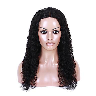 Damen Echthaar Perücken mit Spitze Echthaar Vollspitze 130% Dichte Lockig Perücke Schwarz Kurz Mittel Lang Natürlicher Haaransatz Für