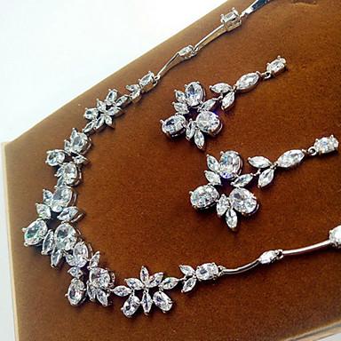 Schmuck Halsketten Ohrringe Party Zirkon 1 Set Damen Silber Hochzeitsgeschenke