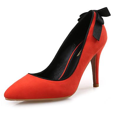 Mulheres Sapatos Camurça Primavera Outono Plataforma Básica Saltos Salto Agulha Dedo Apontado Rendado para Social Festas & Noite