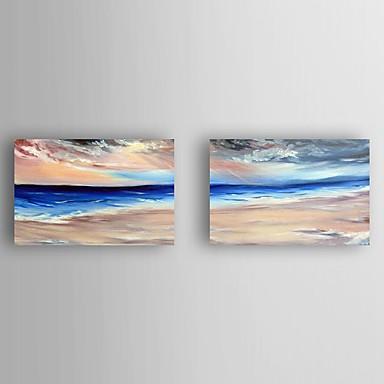 Maalattu Maisema öljymaalauksia,Moderni 2 paneeli Kanvas Hang-Painted öljymaalaus For Kodinsisustus