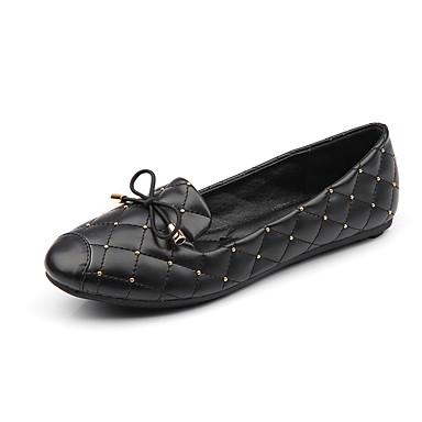 Dame Sko Kunstlær Vår / Vinter Komfort Flate sko Flat hæl Lukket Tå / Rund Tå Sløyfe til utendørs / Formell Svart / Grå / Rød