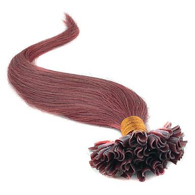 класс 5а 1шт / много 20inch / 45см темно-каштановые (# 33) прямо слияние / Подсказка наращивания волос человеческие волосы ткет 0,5 г / с