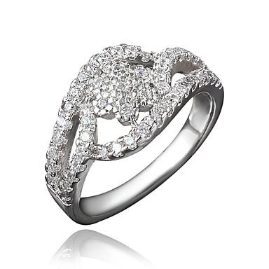 女性用 キュービックジルコニア 指輪 - ゴールドメッキ, 18Kゴールドメッキ ゴールド, ホワイト