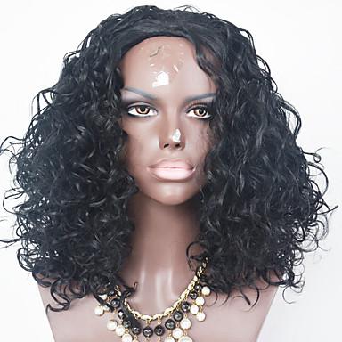 Synteettiset pitsireunan peruukit Kinky Curly Luonnollinen hiusviiva Naisten Lace Front Luonnollinen peruukki Synteettiset hiukset