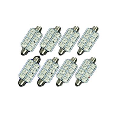 8x kék 41mm 5050 8smd girland kupola térképen belső LED-izzók de3423 6418