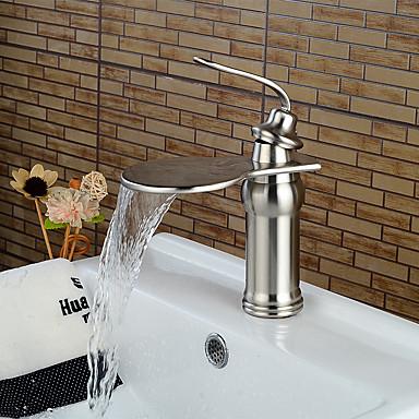 コンテンポラリー センターセット 滝状吐水タイプ セラミックバルブ シングルハンドルつの穴 ブラッシュドニッケル , 浴槽用水栓
