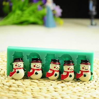 Weihnachten Schneemann mit Schal Fondantkuchen Schokolade Silikonform Kuchen Dekorationswerkzeuge, l12 * w4 * h1.3cm