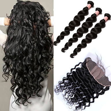 Peruvian Hair Loose Wave Hair Weft with Closure 3 Bundles With  Closure 10-30 inch Human Hair Weaves 4x13 Closure 6a Black Human Hair Extensions