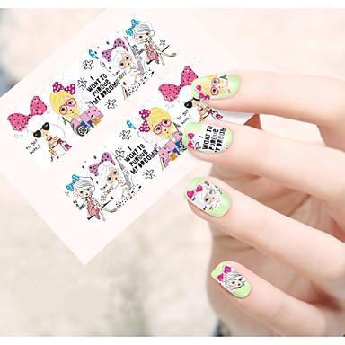 1 Neglekunst klistremerke Vannoverføringsklistre Blomst Tegneserie Smuk Sminke Kosmetikk Neglekunst Design